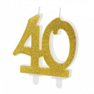 Złota świeczka na tort w kształcie liczby 40