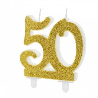 Złota świeczka na tort w kształcie liczby 50