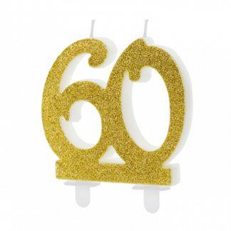 Złota świeczka w kształcie liczby 60