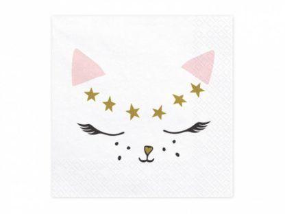 Biała serwetka z buźką kotka