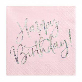 """Różowa serwetka z napisem """"happy birthday"""""""