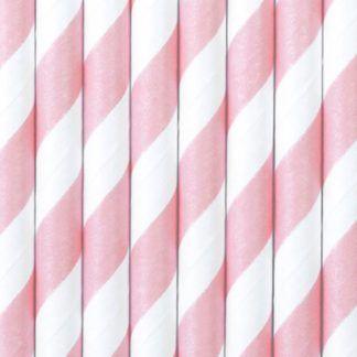 Słomki papierowe w biało-różowe paski