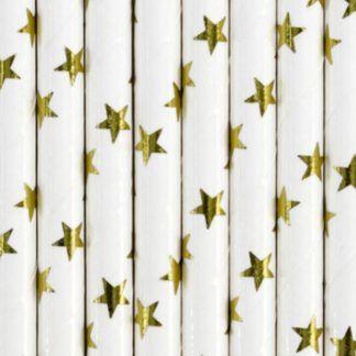 Białe słomki papierowe w złote gwiazdki