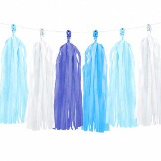 Girlanda z frędzlami w różnych odcieniach niebieskiego