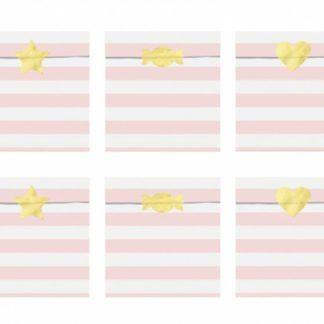 Zestaw torebek na słodycze z białymi i różowymi paskami