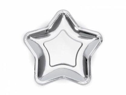 Srebrny talerzyk papierowy w kształcie gwiazdki