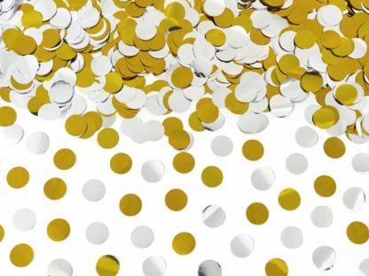 Złote i srebrne konfetti w kształcie kółek