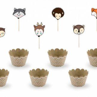 Zestaw do muffinek z motywem zwierząt leśnych