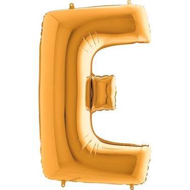 Złoty balon foliowy w kształcie litery E