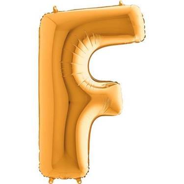 Złoty balon foliowy w kształcie litery F
