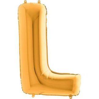 Złoty balon foliowy w kształcie litery L