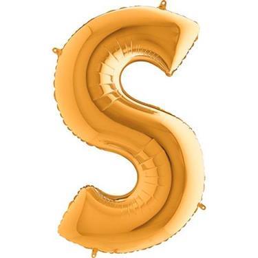 Złoty balon foliowy w kształcie litery S