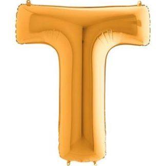 Złoty balon foliowy w kształcie litery T