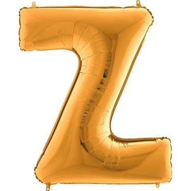 Złoty balon foliowy w kształcie litery Z