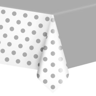 Srebrny obrus foliowy w kropeczki