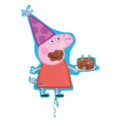 Balon foliowy w kształcie świnki Peppy z tortem