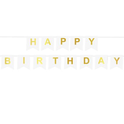 Biała girlanda ze złotym napisem Happy Birthday