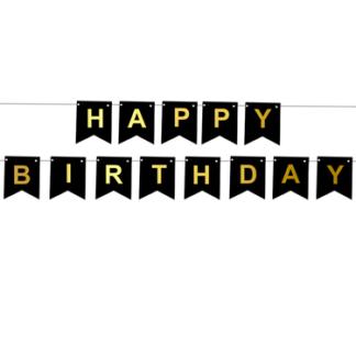 "Czarna girlanda na urodziny z napisem ""happy birthday"""