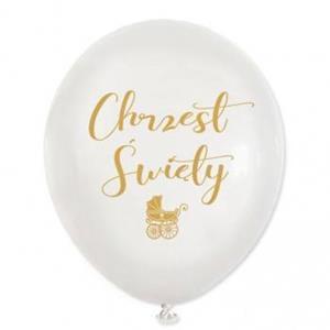 """Biały balon lateksowy z napisem """"chrzest święty"""""""