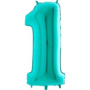 Miętowy balon foliowy w kształcie cyfry 1