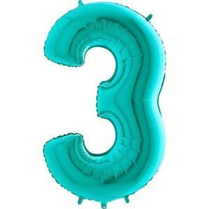 Miętowy balon foliowy w kształcie cyfry 3