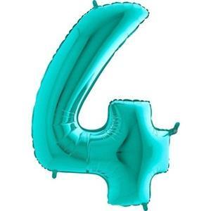 Miętowy balon foliowy w kształcie cyfry 4