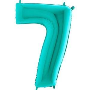 Miętowy balon foliowy w kształcie cyfry 7