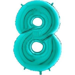 Miętowy balon foliowy w kształcie cyfry 8