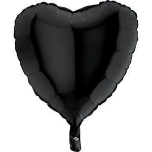 Czarny balon foliowy w kształcie serca