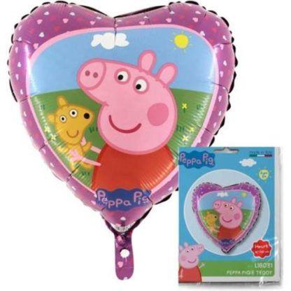 Balon foliowy w kształcie serca z motywem świnki peppy