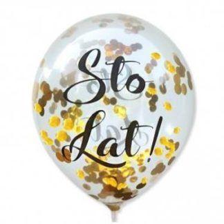 """Balon lateksowy z napisem """"sto lat"""" i złotym konfetti"""