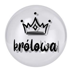 """Przezroczysty balon z napisem """"królowa"""" i koroną"""