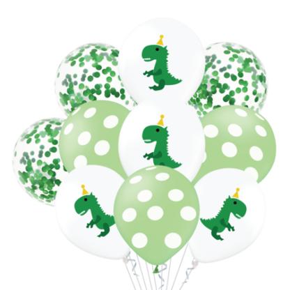 Zestaw zielonych balonów lateksowych z motywem dinozaurów