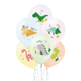 Zastaw balonów lateksowych pastelowych z dinozaurami