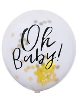 "Balon lateksowy z konfetti i napisem ""oh baby"""