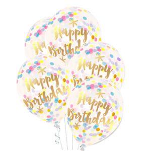 Balony z napisem Happy Birthday i konfetti