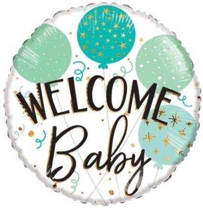 """Balon foliowy okrągły z napisem """"Welcome baby"""""""