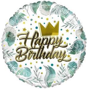 """Balon foliowy z motywem liści i napisem """"happy birthday"""""""
