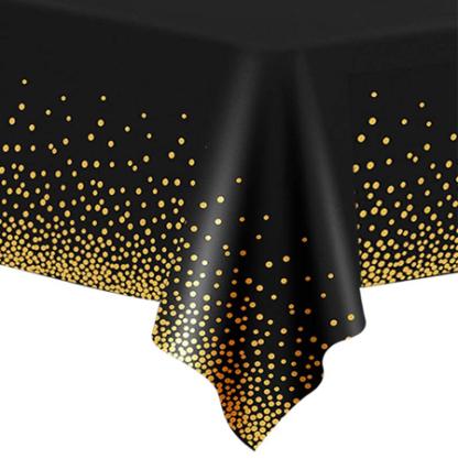 Czarny obrus ze złotym konfetti