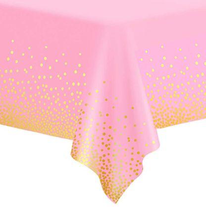 Różowy obrus ze złotym konfetti