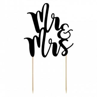 "Czarny topper na tort ""Mr&Mrs"""