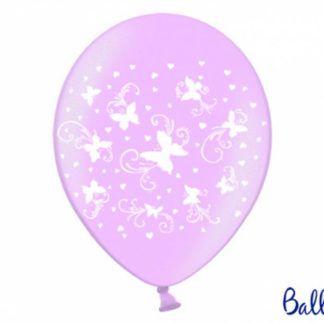 Fioletowy balon lateksowy z białymi motylkami