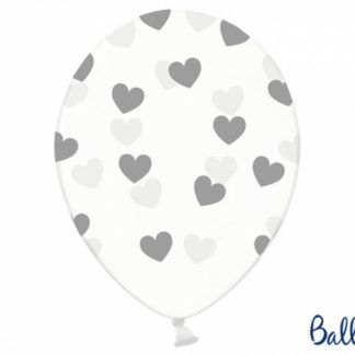 Balon lateksowy ze srebrnymi serduszkami