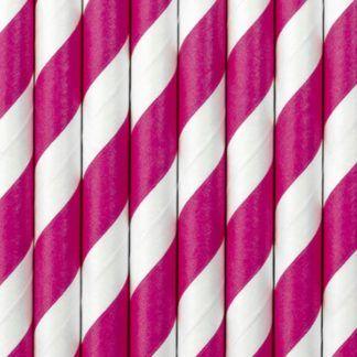 Słomki papierowe w białe i ciemno różowe paski