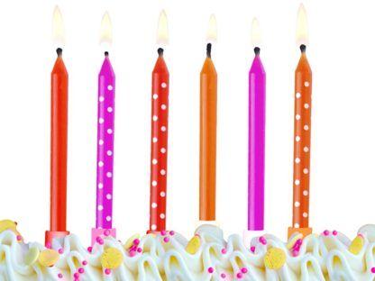 Kolorowe świeczki na tort - gładkie i w białe kropki