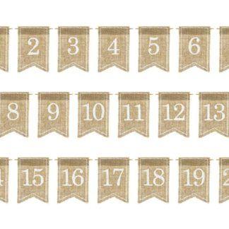 Jutowe numery na stół od 1 do 20