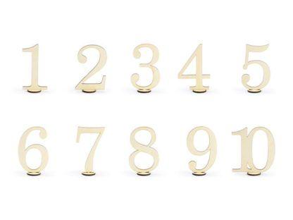 Drewniane numery na stół od 1 do 10