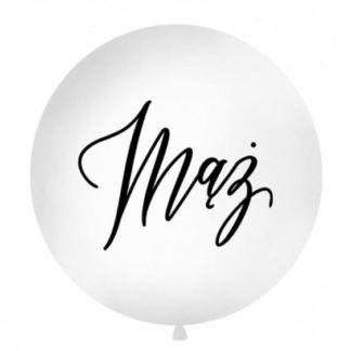Biały balon z czarnym napisem mąż
