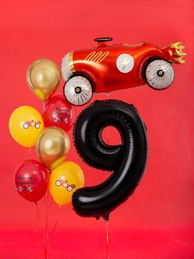 Czarny balon foliowy w kształcie cyfry 9