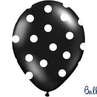Czarny balon lateksowy w białe kropki